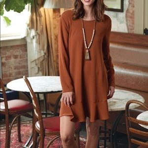 {Mud Pie} 🆕 Copper Long Sleeve Flounce Dress NWT